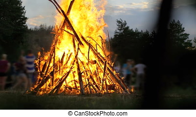 Big Campfire of the Branches Burn at Night in the Forest on the Background of People