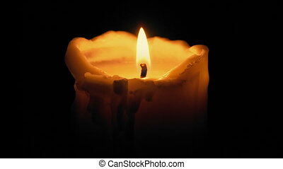 Big Candle Blown Out In The Dark - Large candle blows out...