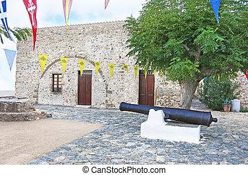 big cannon at the castle of Monemvasia Lakonia Peloponnese Greece