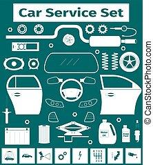Big car service icons set