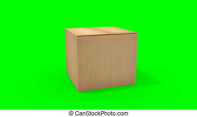 Big cardboard box opening - HD video 1920x1080 from 3d animation. Green screen backdrop for easy compositing into your own shots