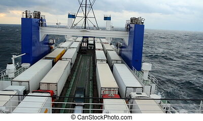 big cargo ferry during a storm