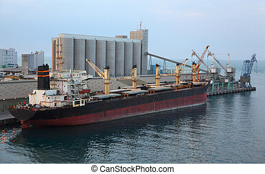 Big cargo ship docked to industrial port at evening in Abu...