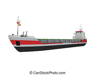 Big cargo ship isolated front view