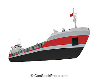 Big cargo ship isolated front view - isolated cargo ship...