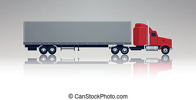 Big Cargo Truck Trailer Vehicle Isolated Template Element Semitrailer Side View Shipping And Delivery Concept