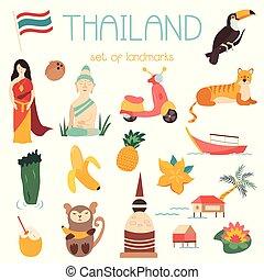 Big cartoon set of Thai landmarks, symbols animals