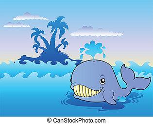 Big cartoon whale in sea