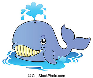 Big cartoon whale - vector illustration.