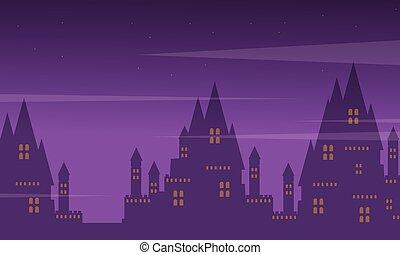 Big castle landscape on Halloween