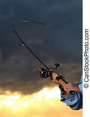 big catch while fishing with rod and reel