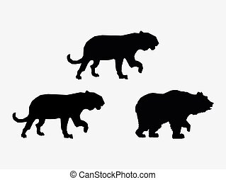 big cats and bear sihouette icons image vector illustration ...