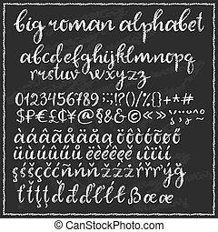 Big chalk roman alphabet.