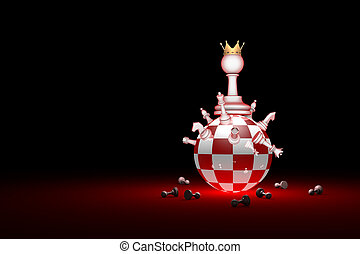 Big changes. The new ruler. Elite Society (chess metaphor). 3D render illustration. Free space for text.