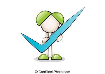 Big Check Symbol - Big Check symbol and Cartoon Characters