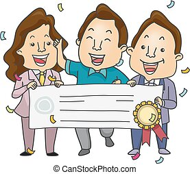 Big Check Winner - Illustration Featuring a Man Being...