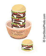 Big Cheese Burger in A Brown Basket