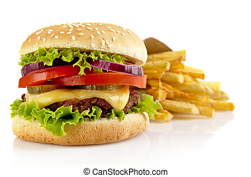 Big cheeseburger with french fries isolated on white background