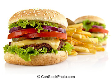 Big cheeseburgers with french fries isolated on white background