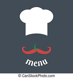 Big chef hat with mustache vector.