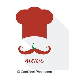 Big chef hat with mustache vector