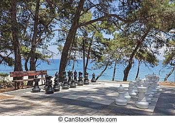 big chess board in Skala, Kefalonia