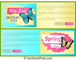 Big Choice Spring Sale Labels Posters Butterfly