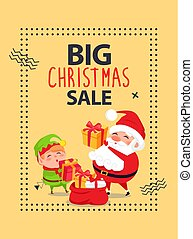 Big Christmas Sale Poster with Santa Claus and Elf