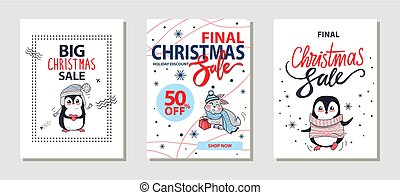 Big Christmas Sale Posters Vector Illustration