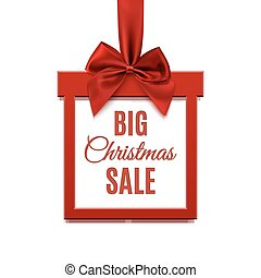 Big Christmas sale, square banner in form of gift with red ribbon.