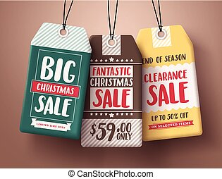 Big Christmas sale vector paper price tags hanging with different colors