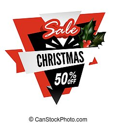 Big Christmas sale with 50% off promotional logotype
