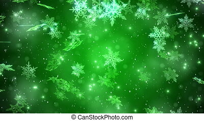 """Big Christmas Snowflake With Snow Particles With A Green..."