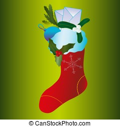big christmas stocking with gifts, tree decorations and letters