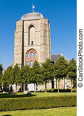 Front of Big Church, Grote Kerk, in the city of Veere in Zeeland, Netherlands