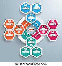 Big Circle Colored Infographic Honeycomb Flowchart -...