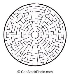 big circular maze isolated on white background