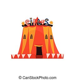 Big Circus Marquee Tent with Flags Cartoon Vector Illustration