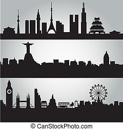 big cities - three big silhouettes of the buildings from...