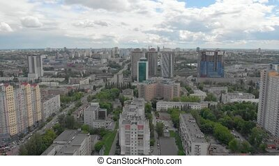 Big city aerial panorama view clouds multistory houses apartment buildings Kyiv Ukraine