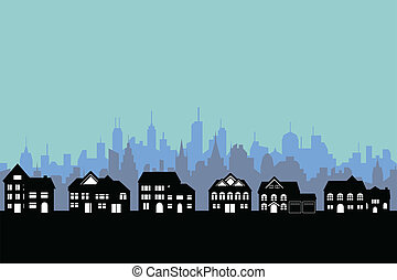 Suburban houses with big city background