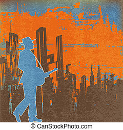 Big city Blues Guitar Concert, Vector Poster or Flyer for an...