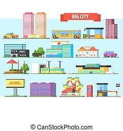 Big City Buildings Set. Vector Illustartion