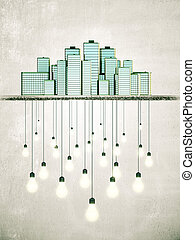 Big city creates bright ideas concept