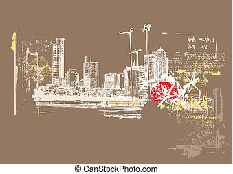 Big City  -  Grunge styled urban background.   illustration.