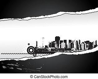 Big City - Grunge styled tear paper. illustration.