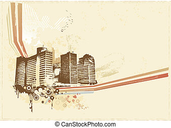 Big City - Grunge styled urban background. illustration....