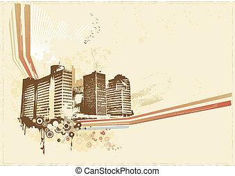 Big City - Grunge styled urban background. illustration.
