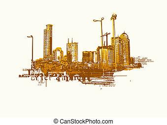 Big City - Grunge styled urban background.