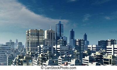 Big city high rise buildings panorama 4K - Panorama of...